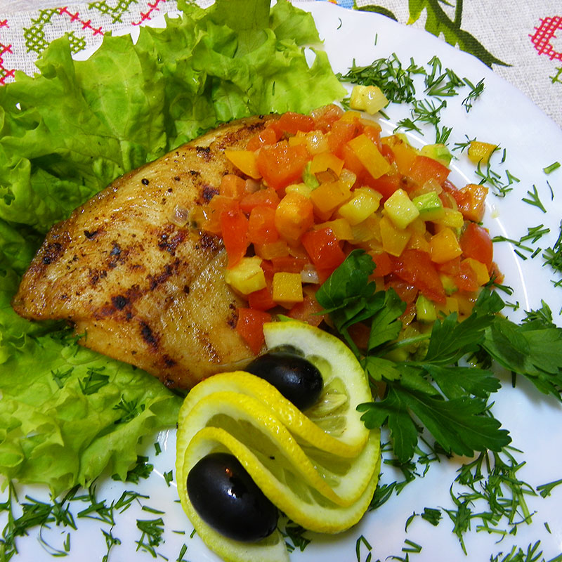 Tilapia with vegetable saute