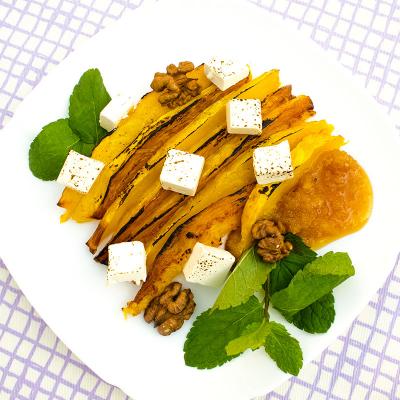 Запеченая тыква с сыром фета и медом